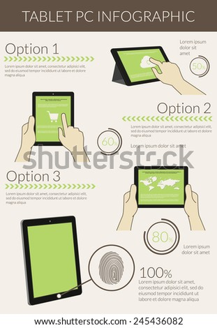 Template infographic visualization of usability tablet pc. Text outlined, free font Lato - stock vector