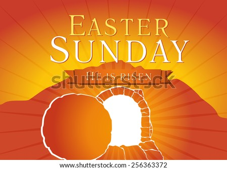 Template invitation to an Easter Sunday service in the form of rolled away from the tomb stone. easter sunday holy week tomb card - stock vector