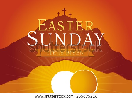 Template invitation to an Easter Sunday service in the form of rolled away from the tomb stone on a background of Calvary with three crosses. Easter sunday holy week sunrise card - stock vector