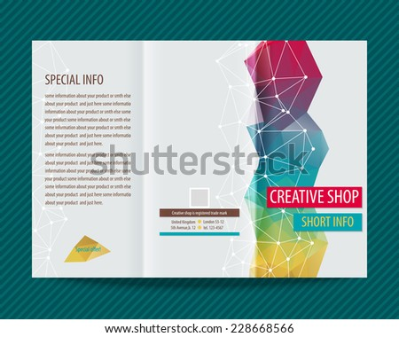 Template light vector design for trifold brochure with colorful polygons and white polygonal grid. Editable, bright. Proportionally for A4 size - stock vector