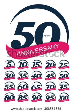 Template Logo Anniversary Set Vector Illustration EPS10 - stock vector