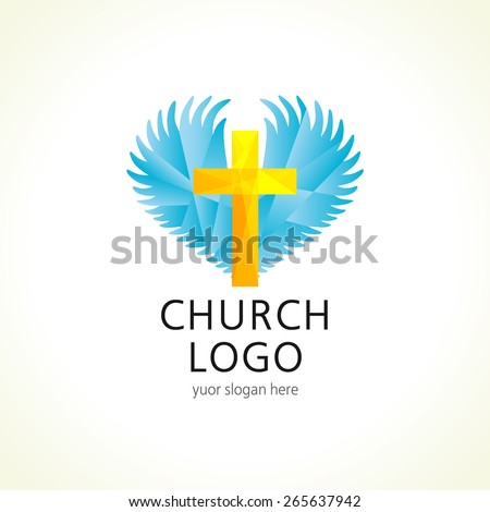 Template logo for a church or Christian organization in the form of a cross on a background of angel wings. Church cross wings logo - stock vector