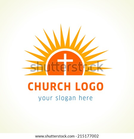 Template logo for churches and Christian organizations cross on the sun. Cross on the sun church logo. - stock vector