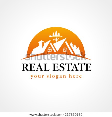 Template logo for real estate agency or cottage town elite class. Real estate logo wood sun. - stock vector