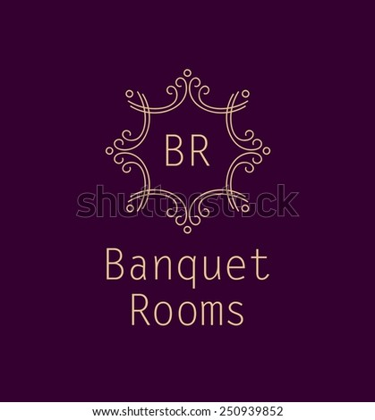 Template logo for the banquet hall, catering, restaurant. Monogram. Vintage style. Burgundy color. - stock vector