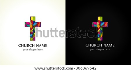 Template logo for the church in the form of a colored stained cross. Church cross color - stock vector