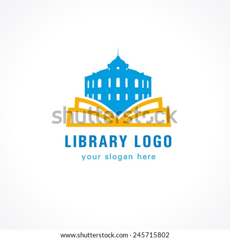 Template logo for the library or bookstore. Library logo book - stock vector