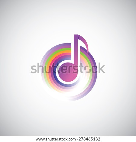 Template Logo Musical Note Colorful Geometric Stock Vector