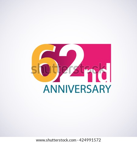 Template Logo 62nd anniversary. 62 years anniversary red colored vector design