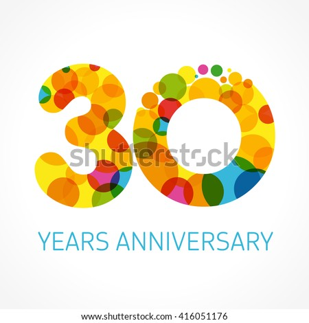 Template logo 30th anniversary with a circle in the form of a color bubble. 30 years anniversary circle colored logo