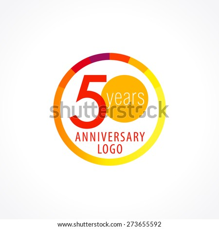 Template logo 50th anniversary with a circle in the form of a graph and the number 5 in the middle. 50 anniversary circle logo - stock vector
