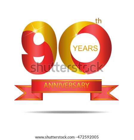 Template Logo 90th Anniversary Red Gold Stock Vector HD Royalty