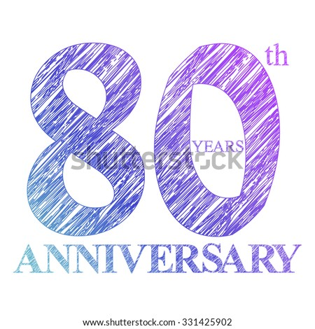 template logo with a circle for anniversary. 80 - stock vector
