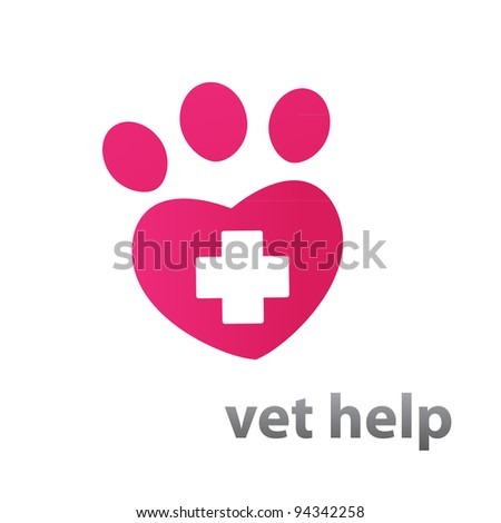 Template mark veterinary care - in the form of heart-track the animal. Vector idea. - stock vector
