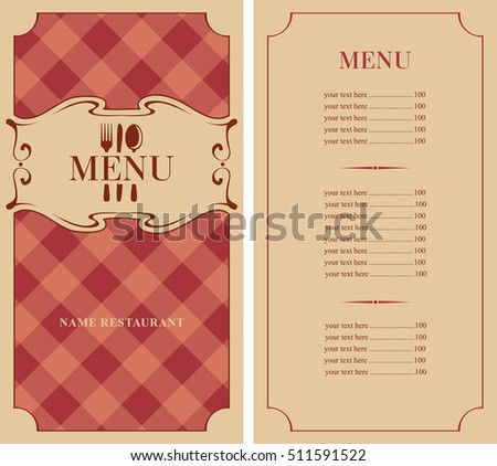 template menu with price with cutlery fork, spoon and knife