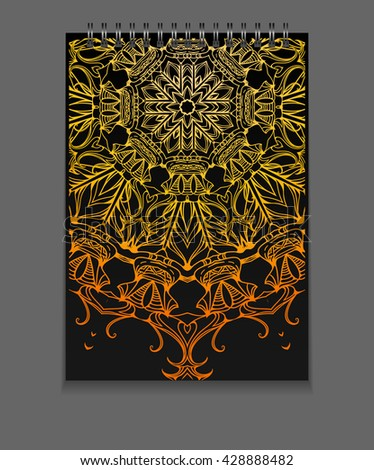 Template notebook on springs with gold freehand mandala and place for text. Vector element for your design - stock vector