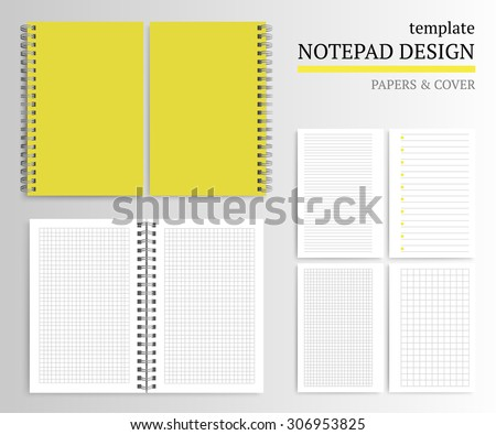 Template Notepad Design Cover Papers Stock Vector 306953825 ...