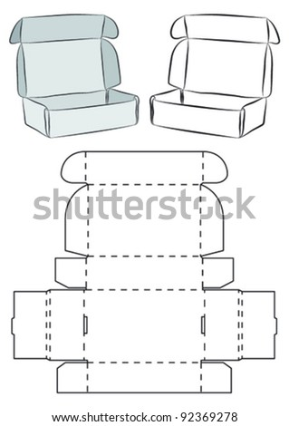 Template of a box (does not need need glue to assemble) - stock vector