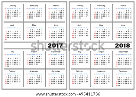 Template of a calendar of white color. A calendar for 2017 and 2018.