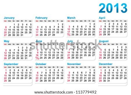 Template of a calendar 2013 year - stock vector