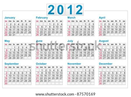 Template of a calendar 2012 year - stock vector