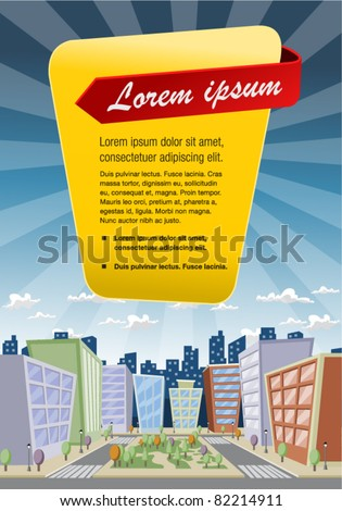 Template of a colorful cartoon city - stock vector