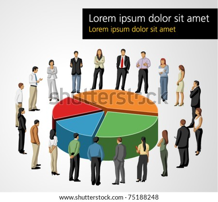 Template of a group of business and office people around chart - stock vector