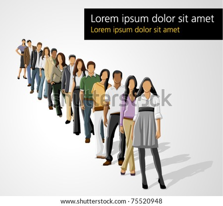 Template of a group of business and office people in a row - stock vector