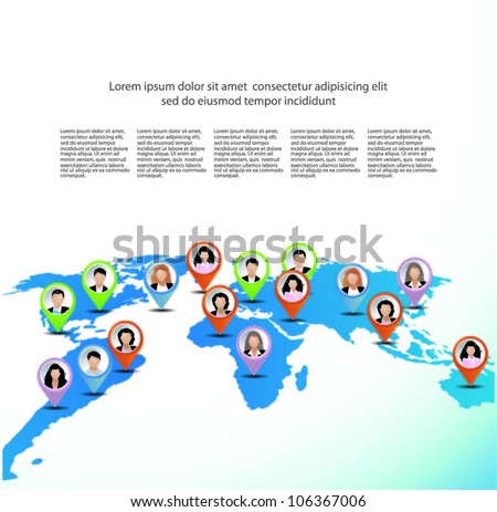 Template of a group of business and office people on the world map. Vector illustration. - stock vector