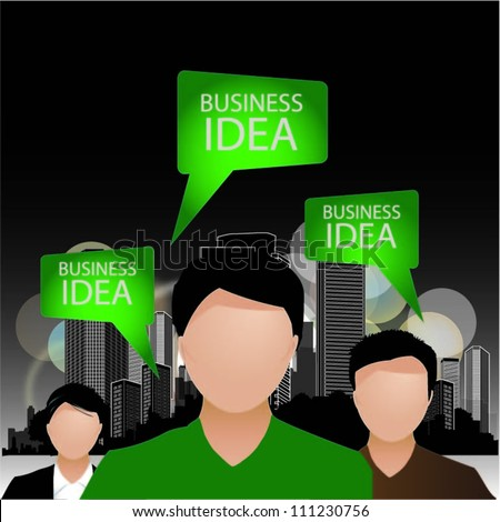 Template of a group of business and office people with city landscape and speech bubbles. Vector illustration. - stock vector
