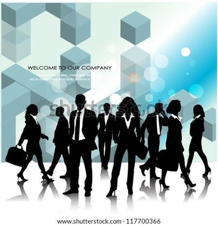 Template of a group of business and office people with 3d cubes - stock vector