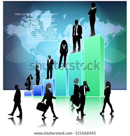 Template of a group of business and office people with 3d graph