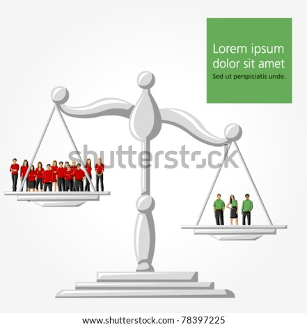 Template of a group people on scale - stock vector