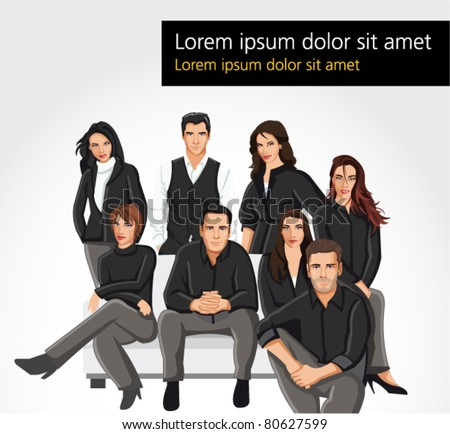 Template of a group people wearing black clothes on sofa - stock vector