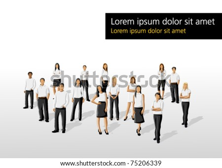 Template of a group people wearing white clothes - stock vector
