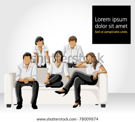 Template of a group people wearing white clothes on sofa - stock vector