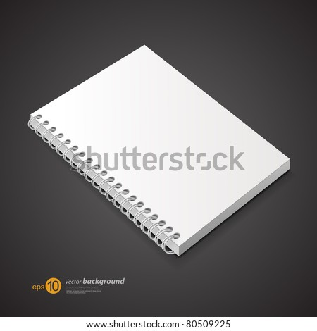 Template of a notebook with cover on a spring. A background for design. - stock vector