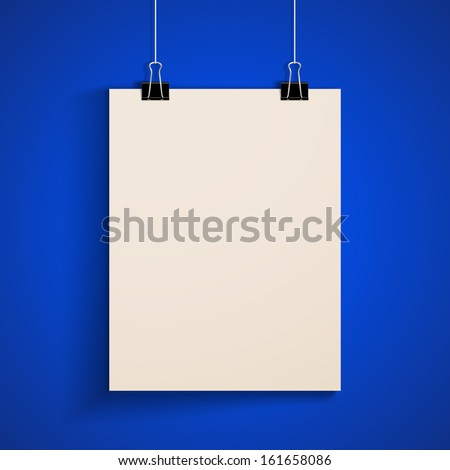 template of a paper sheet. poster mock-up - stock vector