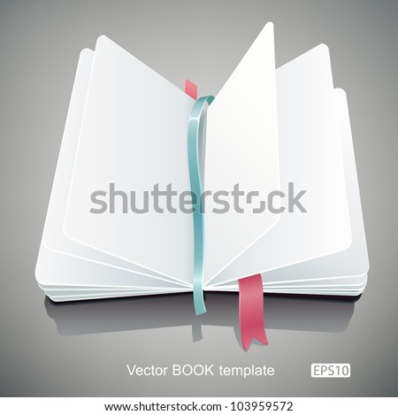 Template of an opened book with clean white pages. - stock vector