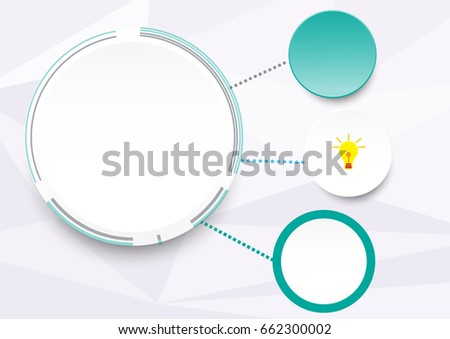 Template Of Blank White Note Paper Vector And Idea Lamp Icon Background
