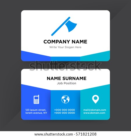 Template business card construction equipment services stock vector template of business card for construction equipment services company with blue metal ax vector with elements colourmoves
