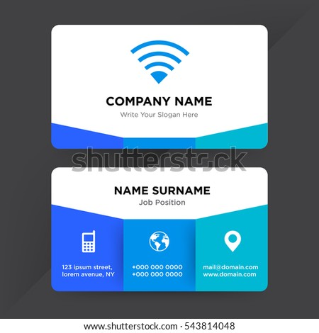 Template business card networking services company stock vector template of business card for networking services company with blue internet vector on gray background colourmoves