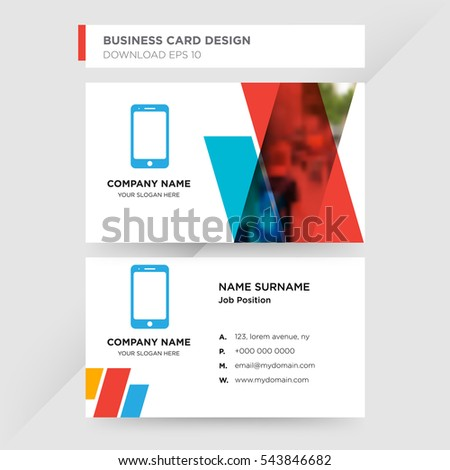 Template business card technology services company stock photo template of business card for technology services company with blue cell phone vector on gray background colourmoves