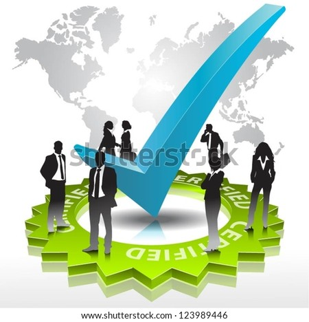 Template of business people team  with check sign. Vector illustration. - stock vector