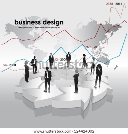 Template of business people team with 3d arrows. Vector illustration.