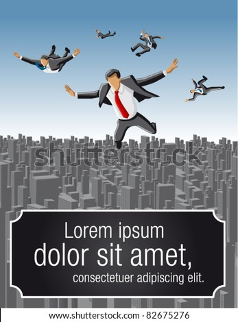Template of businessmen falling over big city landscape - stock vector