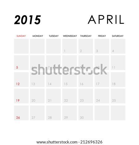 Template of calendar for April 2015  - stock vector
