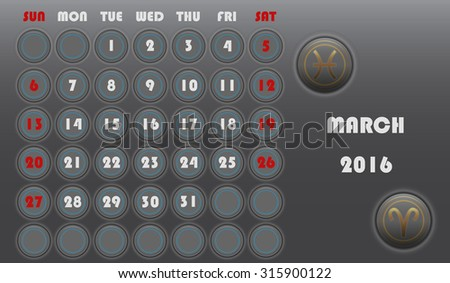 Template of calendar with sing of zodiac of month for 2016