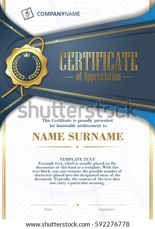 Template certificate appreciation golden badge patterned stock template of certificate of appreciation with golden badge and patterned background in blue yadclub