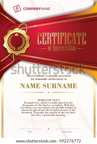 Template certificate appreciation golden badge patterned stock template of certificate of appreciation with golden badge and patterned background in red yadclub Images